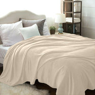 Flannel Solid Microplush Bed Blankets-Cream-Twin-Daily Steals