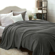 Flannel Solid Microplush Bed Blankets-Grey-Throw-Daily Steals