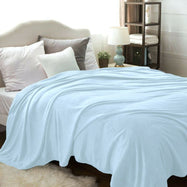 Flannel Solid Microplush Bed Blankets-Light Blue-Twin-Daily Steals