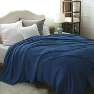 Flannel Solid Microplush Bed Blankets-Navy-Throw-Daily Steals