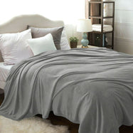 Flannel Solid Microplush Bed Blankets-Silver-Twin-Daily Steals