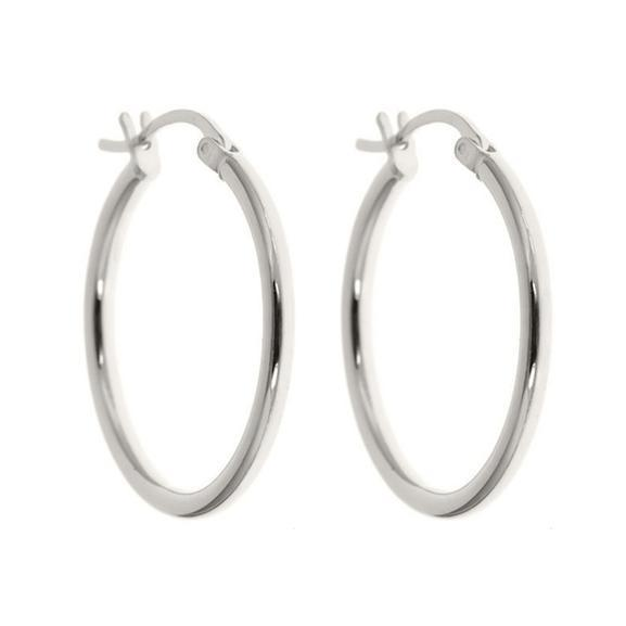 Daily Steals-25mm Classic French Lock Hoops in Solid Sterling Silver-Jewelry-