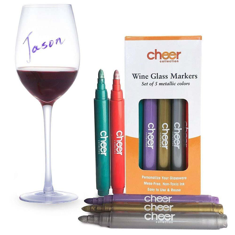 update alt-text with template Daily Steals-Cheer Collection Metallic Colors Wine Glass Markers-Hobby and Toys-1-Pack (5 Markers)-
