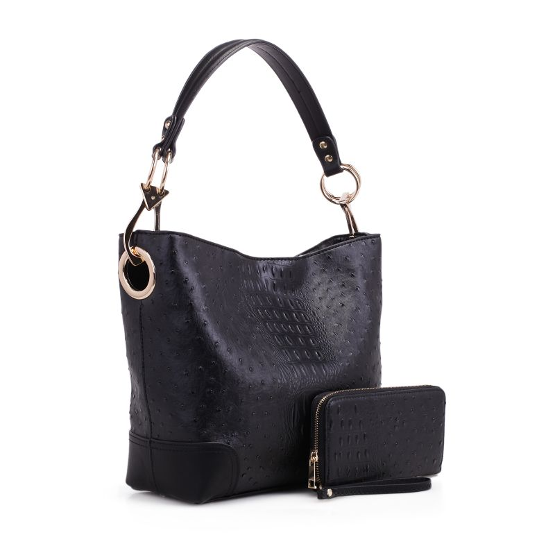 MKF Collection Wandy Hobo Sac à main et portefeuille assorti-Noir-Daily Steals
