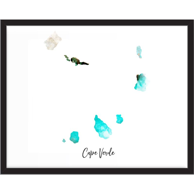 Cape Verde Watercolor Map Print - Unframed Art Print-Daily Steals