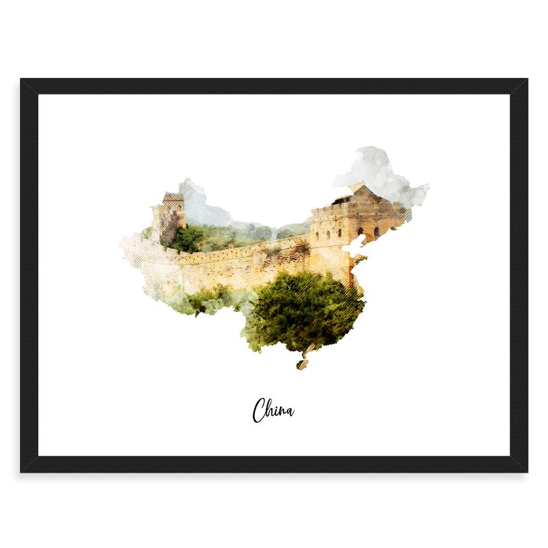 China Watercolor Map Print - Unframed Art Print-Daily Steals