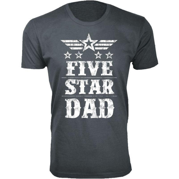 Men's Five Star Father's Day T-shirts-Dad - Charcoal-S-Daily Steals