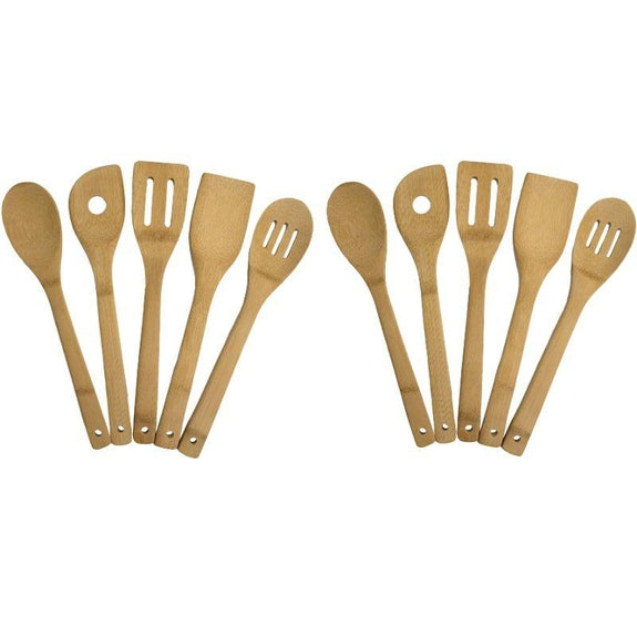5 and 10 Piece Bamboo Kitchen Utensil Set-10 Piece Set-Daily Steals