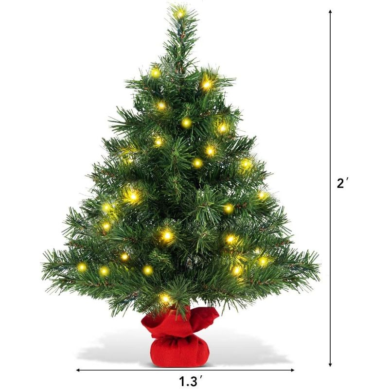 2 Foot Artificial Tabletop Christmas Tree with LED Lights