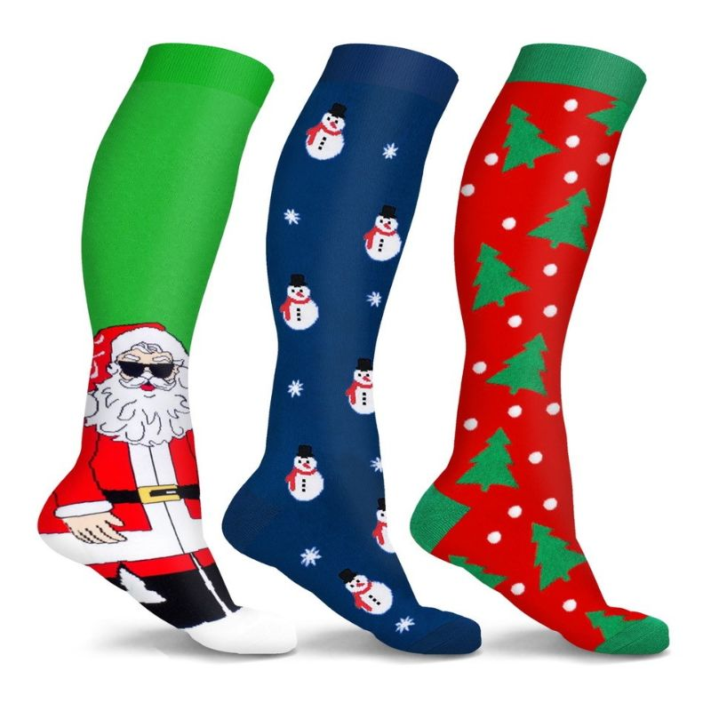 Holiday Fun Compression Socks Fun & Chill eller Fun & Festive - 3-pack