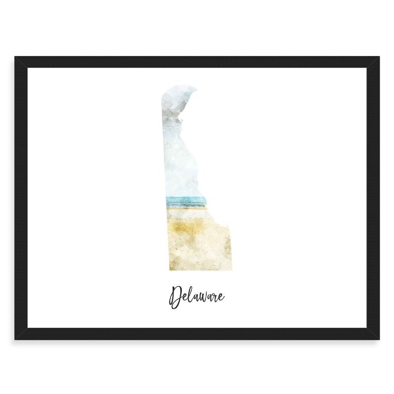 Delaware Watercolor Map Print - Unframed Art Print-Daily Steals