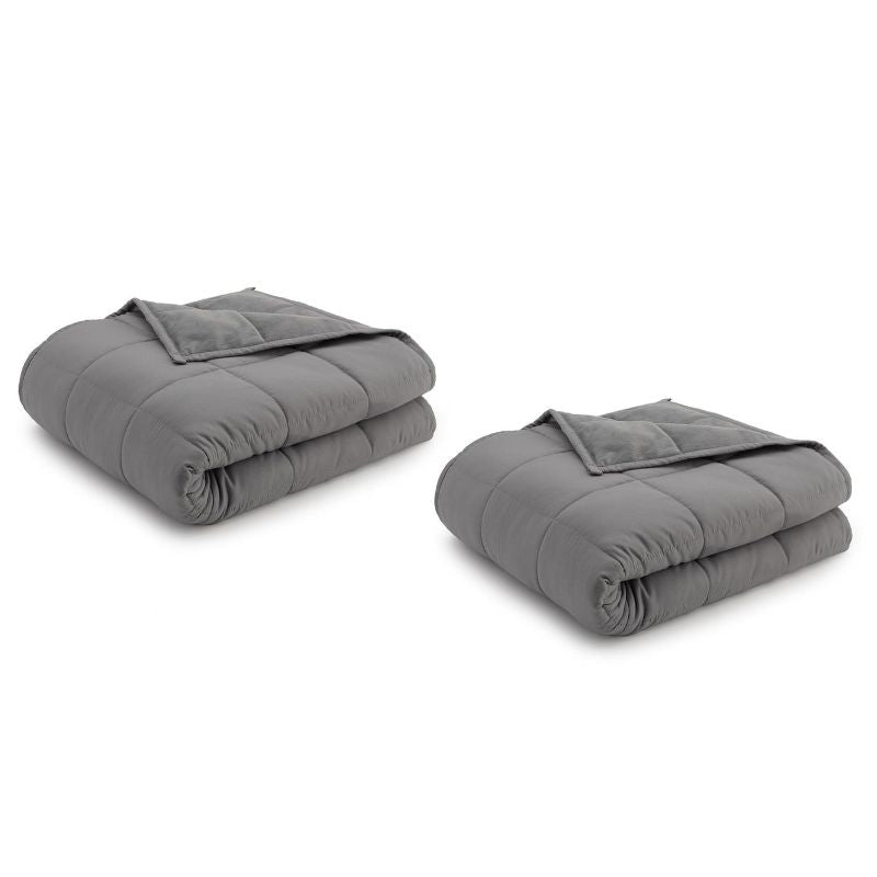 Ella Jayne Reversible Anti-Anxiety Weighted Microfiber Blanket-Grey/Grey-12 lbs-Daily Steals