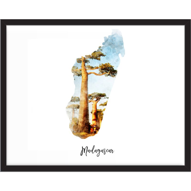 Madagascar Watercolor Map Print - Unframed Art Print-Daily Steals
