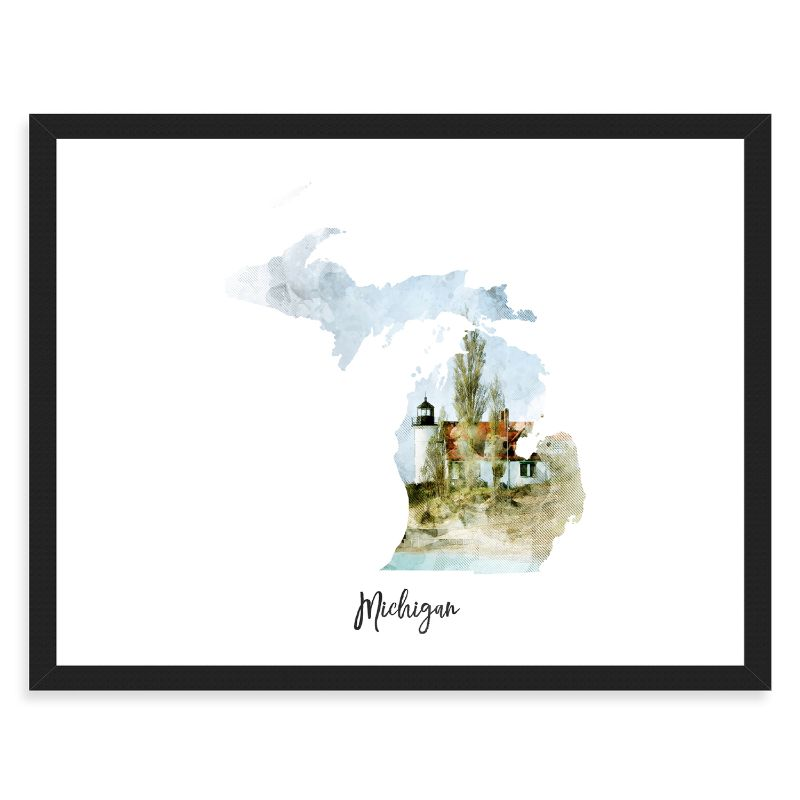 Michigan Watercolor Map Print - Unframed Art Print-Daily Steals