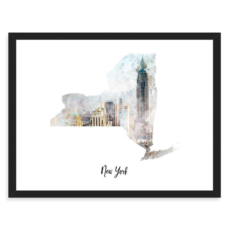 New York Manhattan Watercolor Map Print - Unframed Art Print-Daily Steals
