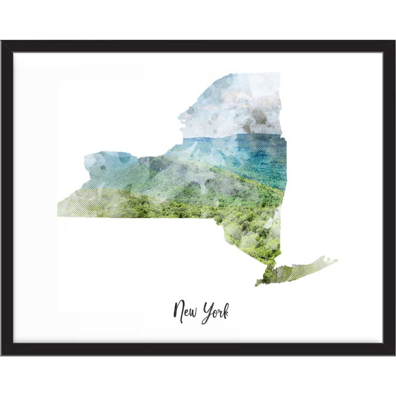 New York Countryside Watercolor Map Print - Unframed Art Print