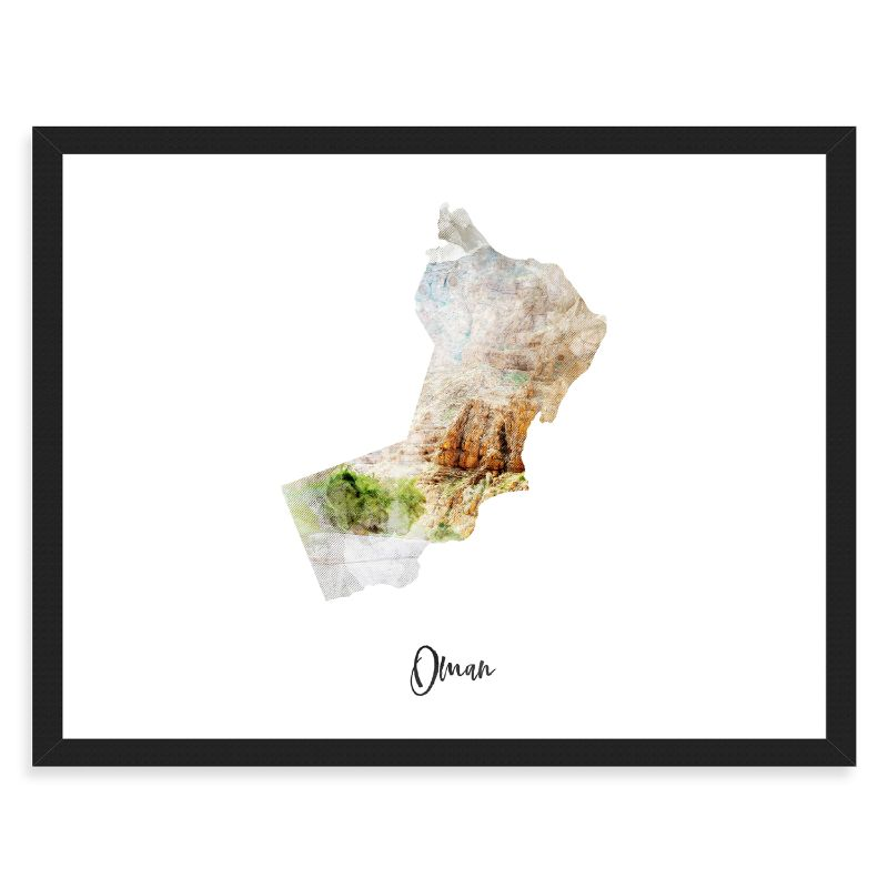 Oman Watercolor Map Print - Unframed Art Print-Daily Steals