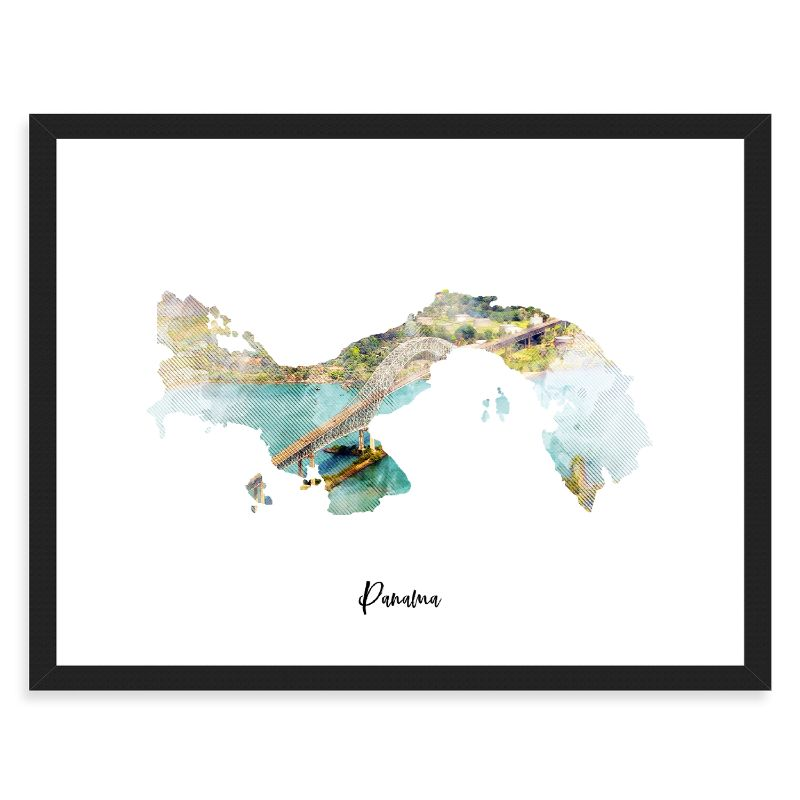 "Panama Watercolor Map Print - Unframed Art Print-10""x8""-Horizontal/Landscape-Daily Steals"