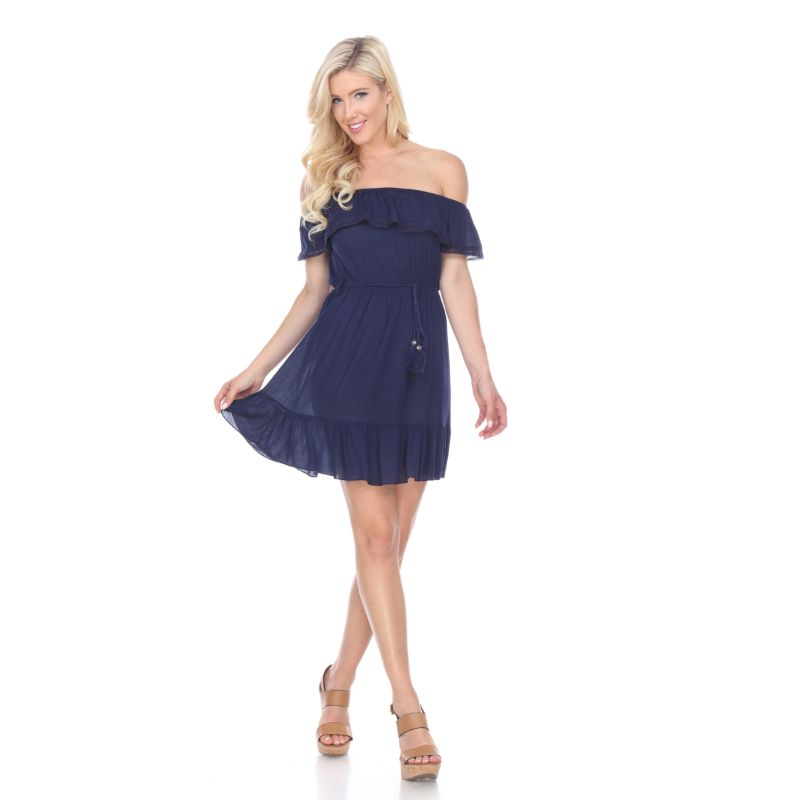 Smocked Off-The-Shoulder Dress-Navy-M-Daily Steals