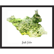 South Sudan Watercolor Map Print - Unframed Art Print-Daily Steals