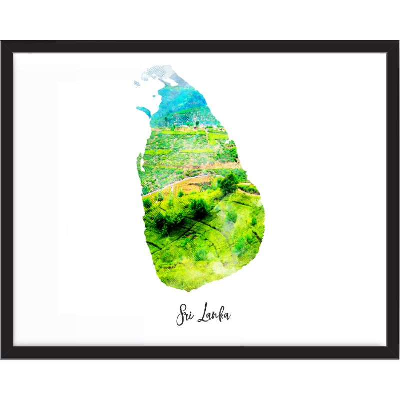 Sri Lanka Watercolor Map Print - Unframed Art Print-Daily Steals