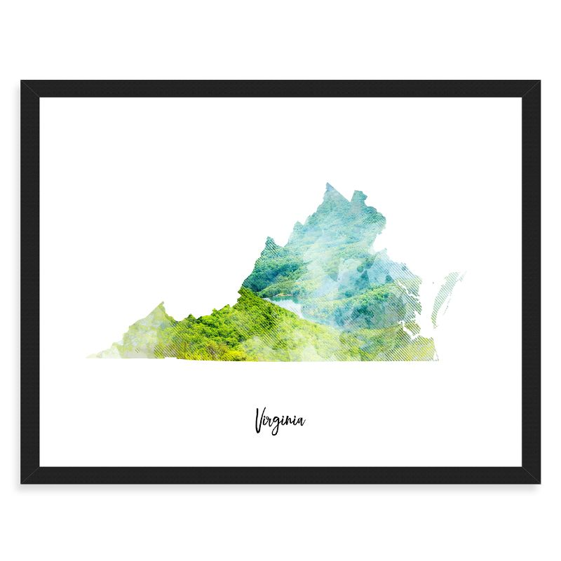 Virginia Watercolor Map Print - Unframed Art Print-Daily Steals