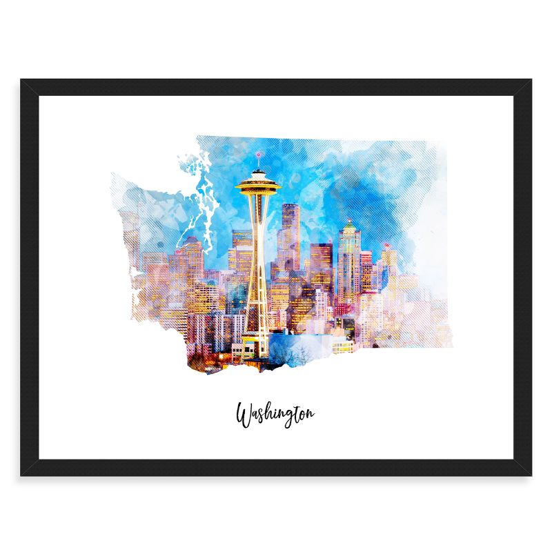 Washington Watercolor Map Print - Unframed Art Print-Daily Steals