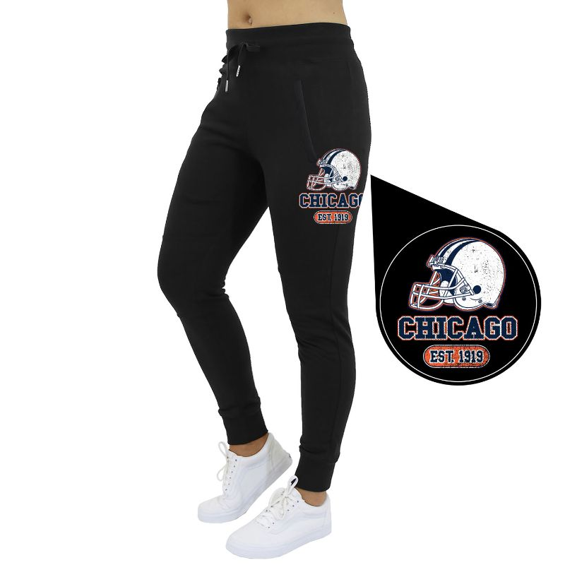 Women's Home Team Football Jogger Sweatpants-Chicago - Black-S-Daily Steals