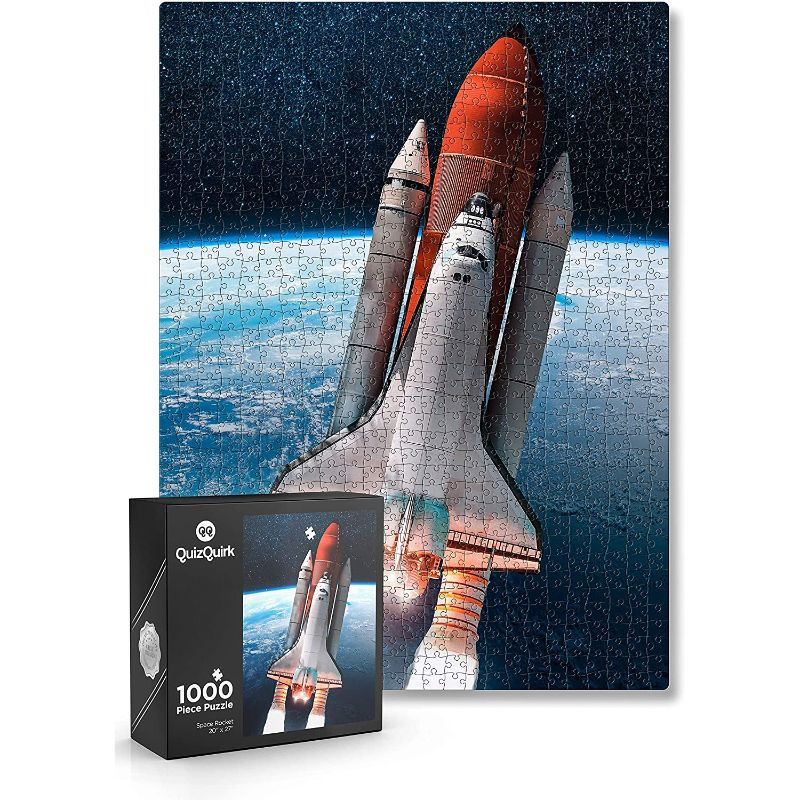 QuizQuirk 1000 Piece Rocket in Space and 500 Piece Astronaut Jigsaw Puzzles for Adults