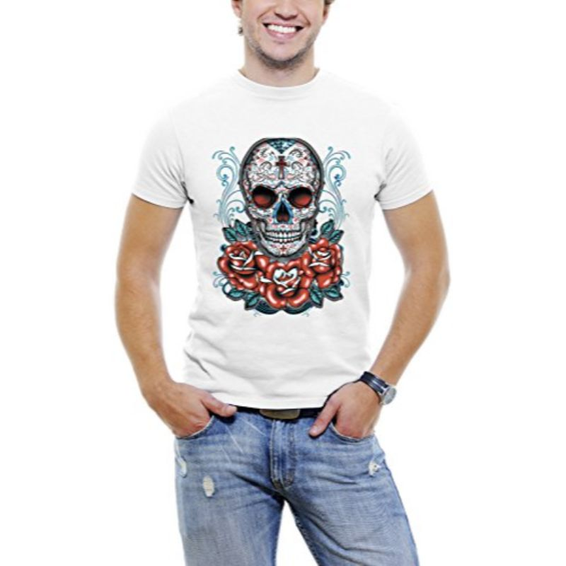 Skull Roses Tattoo - Men's T-Shirt-White-3XL-Daily Steals
