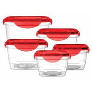 Vented Locking Airtight Food Storage Container Sets-Red - 10 Pieces (Including lids)-Daily Steals