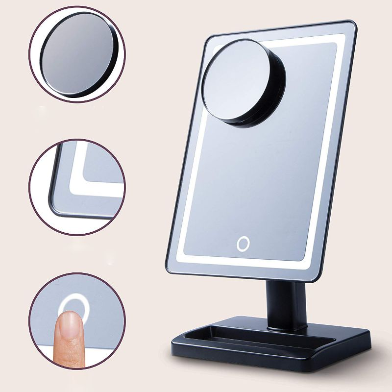 Touch-Activated Adjustable and Dimmable LED Vanity Mirror w/ Magnification-Daily Steals