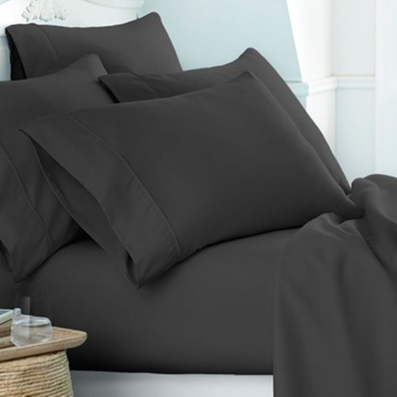 Microfiber Merit Linens Bed Sheets Sets - 6 Piece-Black-Twin-Daily Steals