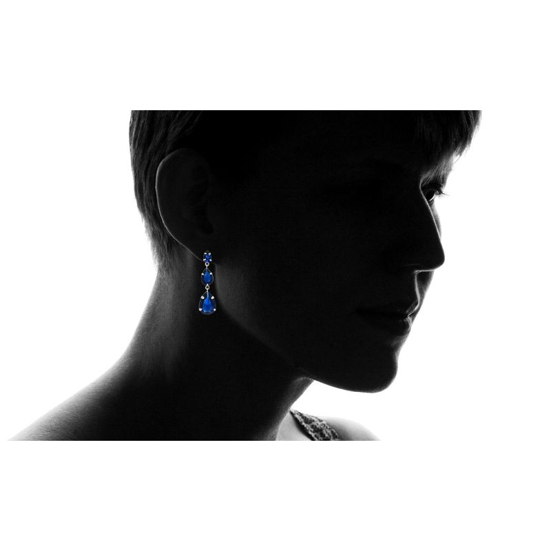 Sterling Silver Created Blue Sapphire Gemstone Hanging Earrings-Daily Steals