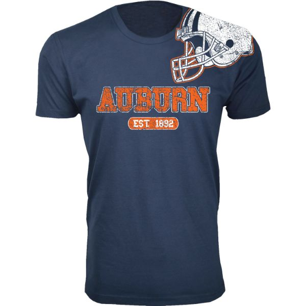 Men's Awesome College Football Helmet T-Shirts-S-Auburn - Navy-Daily Steals