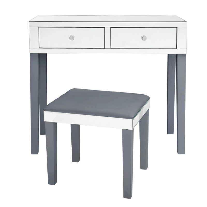 Milano Modern Contemporary Mirrored 2-Drawer Vanity Table with Stool Set-Grey-Daily Steals