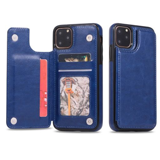 iPM Apple iPhone 11, Pro, Pro Max PU Leather Purse Protective Case-Blue-iPhone 11-Daily Steals