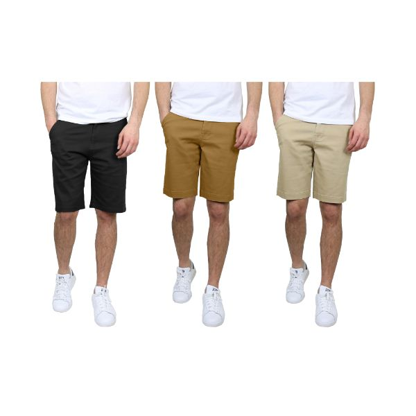 Men's 5-Pocket Flat-Front Stretch Chino Shorts - 3 Pack-Black & Timber & Khaki-30-Daily Steals