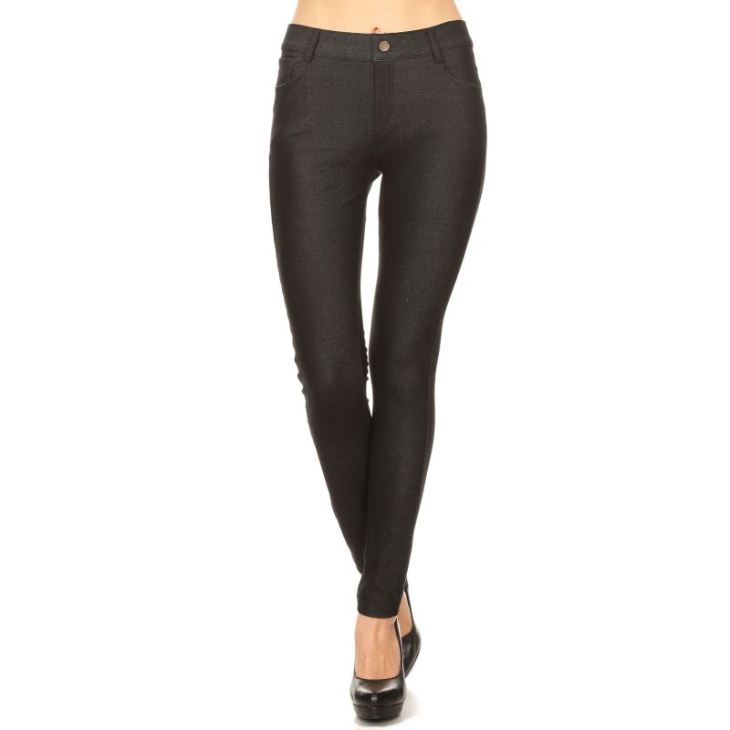 Women's Cotton Blend Full Length Jeggings-Black-Large-Daily Steals