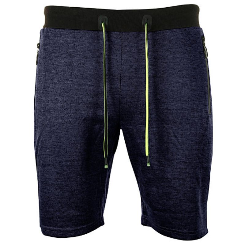 Men's Marled French Terry Shorts With Drawstring & Zippered Pockets-Blue-Small-Daily Steals