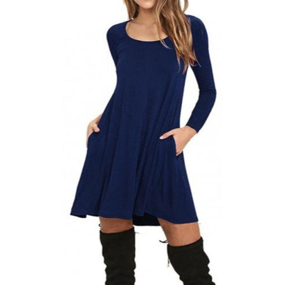 Stylish Full Sleeve Dress with Pockets - 4 Colors-Blue-Small-Daily Steals
