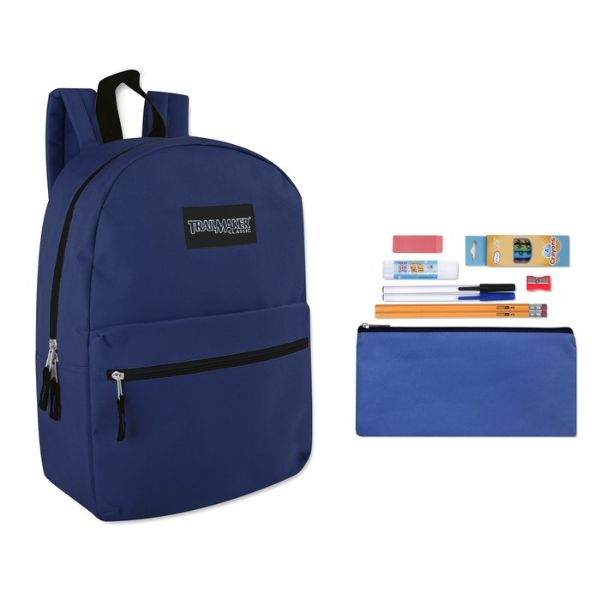 "Trailmaker Classic 17"" Backpack + 12 Piece School Supply Kit-Blue-Daily Steals"
