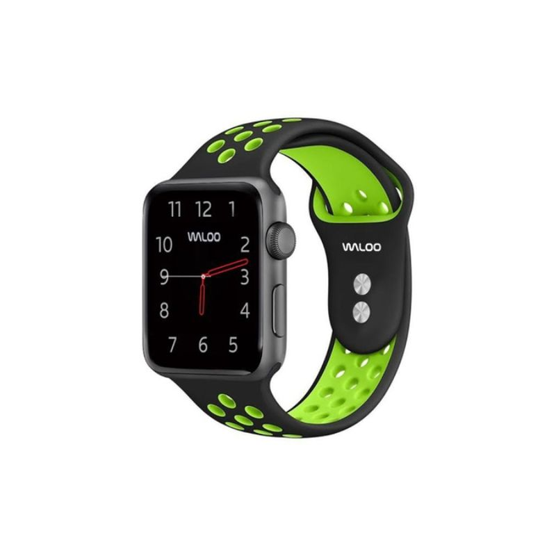 Waloo Breathable Sports Band For Apple Watch Series 1-5-Black/Green-38/40mm-Daily Steals