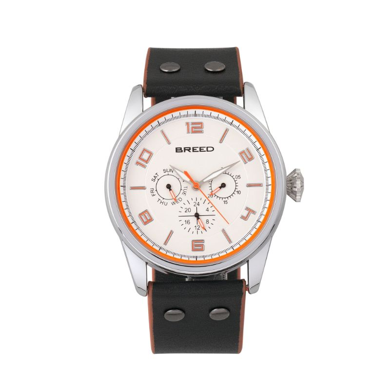 Breed Rio Leather-Band Watch w/Day/Date-Silver/Orange-Daily Steals