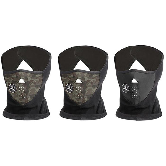[3-Pack] Unisex Fleece Winter Cold-Weather Mask-2 Camo, 1 Black-Daily Steals
