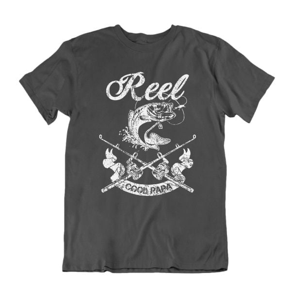 Reel Cool Papa' Funny Fishing T Shirt-Charcoal-S-Daily Steals