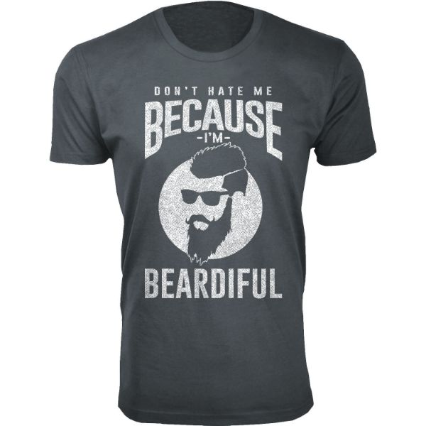 Men's 'Greatest Beard' T-shirts-M-Don't Hate Me Because I'm BEARDIFUL - Charcoal-Daily Steals