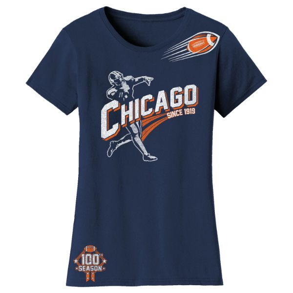 Women's Football Season T-Shirts-Chicago - Navy-M-Daily Steals
