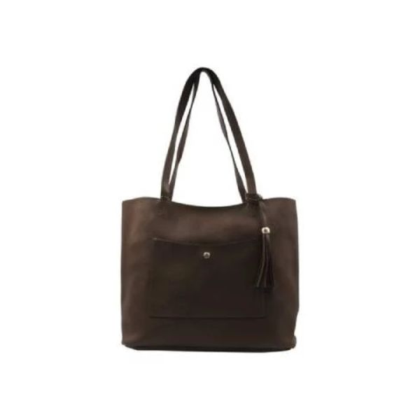 Bolso de mano Barbados Collection de cuero-Chocolate-Steals diario