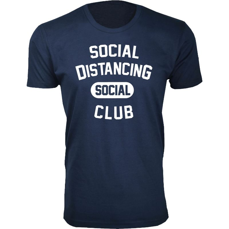 Men's Hilarious Social Distancing T-Shirt-Navy-Social Distancing Social Club-2XL-Daily Steals